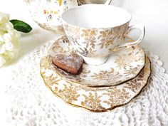 Bone China Gold Chintz Trio, Royal Vale, Colclough China, 1950s 6 available Bridal Shower,  by CuriosAnCollectibles on Etsy