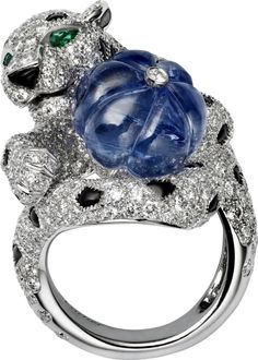 Ring - platinum, one melon-cut Ceylon sapphire bead, onyx, emerald eyes, 550 brilliant-cut diamonds totaling carats. Cartier Panther, Tiger Love, Jewelry Design Drawing, Sell Gold, Animal Jewelry, High Jewelry, Jewelry Branding, Diamond Rings, Jewelry Collection