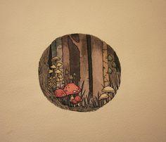 in the woods 2013 watercolor and micron pens Gravure Illustration, Illustration Art, Arte Indie, Arte Sketchbook, Mushroom Art, Aesthetic Art, Cute Drawings, Fairy Drawings, Cute Art