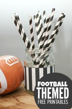 Referee mason jar printable. Football party ideas with mason jars. Mason jar referee jar. Sports themed party ideas with mason jars. Easy mason jar craft for football party.