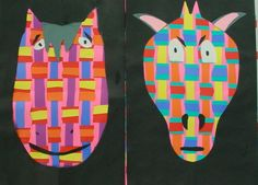 weaving animals, Black paper overlay on flat weave