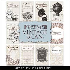 Freebies Retro Style Labels Kit