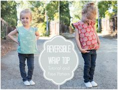 birchfabrics: Free Pattern & Tutorial featuring Eiko by Craftiness Is Not Optional. Cute reversible wrapped kimono-style top with flutter sleeves. Downloadable pattern in 3 sizes, up to size 4/5T