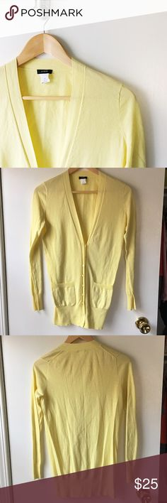 "J. Crew Cotton Cardigan Perfect Cardigan for layering, beautiful canary yellow color. 16.5"" flat, 26.5"" shoulder to hem.    No Trades/️️ ✨ 100% Authentic  Offers Welcome  Bundle Discount  Ships in 1-2 Days J. Crew Sweaters Cardigans"