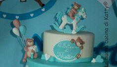 Katty's cakes - Le torte di Katty : Torta cavallini a dondolo con orsetti battesimo - Rocking horses cake with teddy bears baptism
