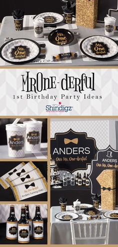 A ONEderful 1st birthday for your Mr. ONEderful. Our Mr. ONEderul 1st birthday theme includes personalized favors, tableware, and photo pops! Shop all our 1st birthday party ideas to make your little one's birthday extra special.