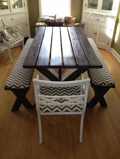 Refinished Picnic Table with Chevron Seat Covers