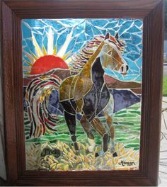 Stained glass mosaic horse by reflectionsshattered.deviantart.com on @deviantART