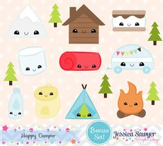 Kawaii Camping Clipart for Crafts and Products. Chibi Kawaii, Kawaii Doodles, Food Doodles, Kawaii Drawings, Cute Drawings, Camping Clipart, Png Transparent, Camping Items, Clip Art
