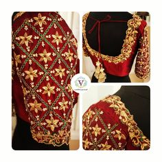 Gorgeous maroon color designer blouse with floral design hand embroidery gold thread and kemp work on neckline and sleeves. Wedding Saree Blouse Designs, Pattu Saree Blouse Designs, Half Saree Designs, Blouse Designs Silk, Lehenga Blouse, Mirror Work Blouse Design, Blouse Designs Catalogue, Simple Blouse Designs, Sleeves Designs For Dresses