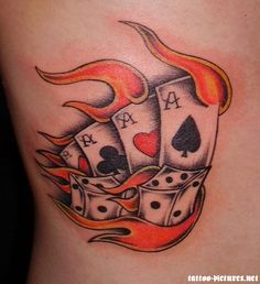 Playing cards and dice in fire flame tattoo design skull tattoos pictures images ideas . new dice pair nautical star and playing card tattoo designs cards . Skull Tattoos, Rose Tattoos, Sleeve Tattoos, Tatoos, Tattoo Roses, Ass Tattoo, Dice Tattoo, Playing Card Tattoos, Playing Cards