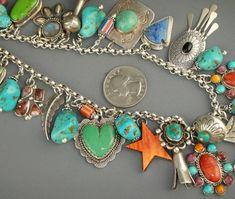 Vintage Native American Navajo Turquoise Charm Bracelet Lot Joan Slifka Necklace   eBay