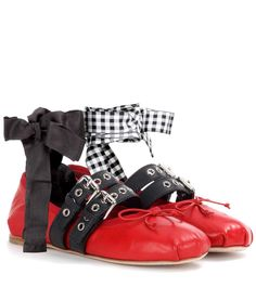 Miu Miu Ballerines en cuir rouge