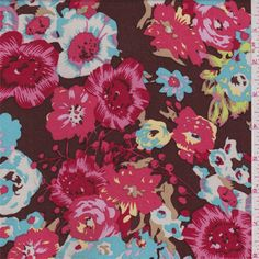 Mocha brownbackground with a coral red, salmon pink, cranberry, turquoise, lime green, tan, orchid pink, yellow and whitefloralprint. This lightweight rayon fabric has a soft hand and good drape.Compare to $11.00/yd