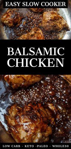 Slow Cooker Balsamic Chicken is an effortless, easy crockpot dinner recipe that . - CROCKPOT RECIPES - Slow Cooker Balsamic Chicken is an effortless, easy crockpot dinner recipe that is low carb, keto-f - Best Crockpot Recipes, Slow Cooker Recipes, Keto Recipes, Dinner Recipes, Healthy Recipes, Ketogenic Recipes, Weightwatchers Recipes, Healthy Soups, Baby Recipes