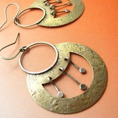 Large Sterling Silver And Bronze Earrings Mixed Metal Tribal Earrings -  Nefertiti -  Metalwork Jewelry