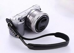 Leather Camera Wrist Strap for Sony Alpha 7 7S 7R II Digital Camera (Black) ** Click image to review more details.