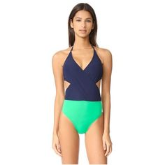 Tory Burch Color Block Wrap One Piece ($195) ❤ liked on Polyvore featuring swimwear, one-piece swimsuits, tie-dye bathing suits, colorblock one piece bathing suit, one piece swim suit, halter top one piece bathing suits and halter bathing suit