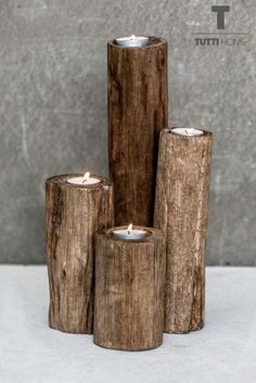 Buy Set Of 4 Wooden Tealights from the Next UK online shop