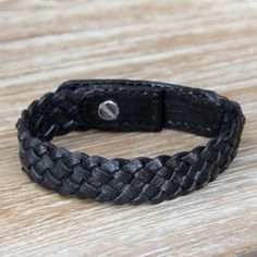 NOVICA Braided Black Wristband Style Leather Bracelet (€29) ❤ liked on Polyvore featuring jewelry, bracelets, black, wristband, black bracelet, kohl jewelry, woven leather bracelet, leather bracelet and bracelet jewelry