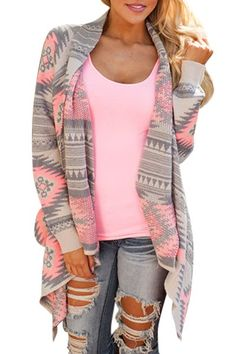 Casual Geometric Print Long Sleeve Asymmetric Cardigan For Women