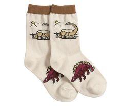 Calcetines de estegosaurio y diplodocus - beig - Todo Dinosaurios - La tienda del dinosaurio