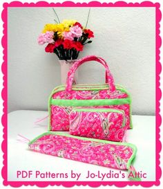 Quilted Sewing or Craft Travel Organizer Bags - PDF Sewing Patterns