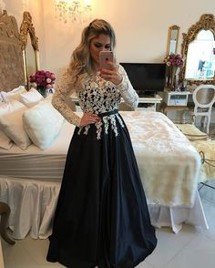 Ivory / Black Satin A Line Long Sleeve Prom Dress, Evening Gown With Lace Top
