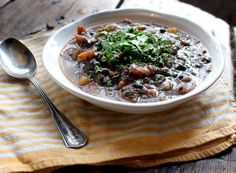 Rustic black bean and sweet potato soup served with a flax seed corn bread at Coffee Perk - all vegan!