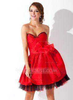 A-Line/Princess Sweetheart Short/Mini Taffeta Organza Tulle Homecoming Dress With Beading Bow(s) (022009085)