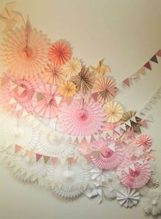 Photobooth idea. ombre fans and bunting backdrop