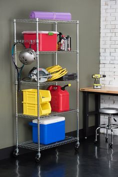 5-Tier NSF Wire Shelving Rack with Wheels Chrome