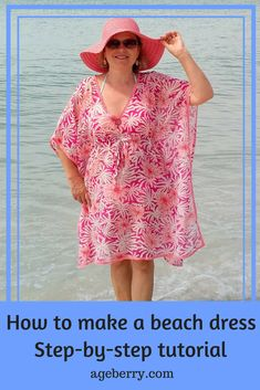 Not the shape I'm looking for, but this pattern could be hacked.  Free online sewing patterns for beginners, easiest sewing patterns, easy sewing projects for beginners, easy sewing projects clothes, beach dress instructions, diy swimsuit cover up, how to make a beach cover up dress, how to make a swimsuit cover-up