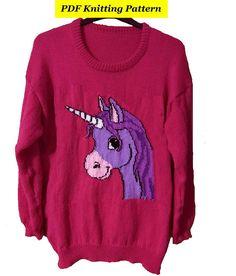Childrens & Adults Cute Unicorn Jumper / Sweater Knitting
