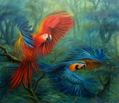 would love to have this painted on one wall Pinterest Pinturas, Parrot Painting, Garden Mural, Big Bird, Japan Art, Bird Art, Bird Feathers, Beautiful Birds, American Art