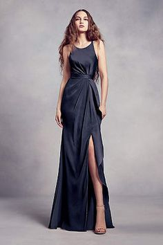 774dc0a8e8f33 Sequin Bodice Bridesmaid Dress with Chiffon Skirt Style VW360345S, Midnight,  26