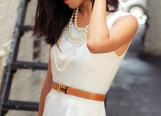 White Dress. Fashion. Pretty Clothes. Pearls. Belt. Dress. Classy.