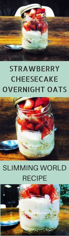 Slimming Strawberry - Cheesecake - Overnight - Oats - Slimming - World - Syn - Free - Healthy Extra B - Deliciously smooth strawberry cheesecake overnight oats.syn free on Slimming World! Slimming World Desserts, Slimming World Breakfast, Slimming World Recipes Syn Free, Slimming World Lunches Work, Slimming World Cheesecake, Slimming World Healthy Extras, Baked Oats Slimming World, Slimming World Free, Slimming World Syns