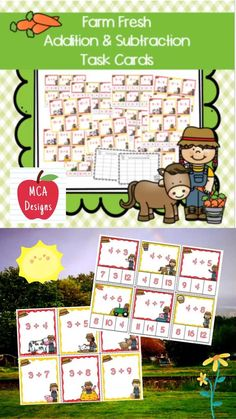 """My Farm Fresh Addition and Subtraction Task Card set includes 529 task cards. 258 """"Clip It"""" style task cards, 271 traditional task cards, and 2 recording sheets. The task cards focus basic addition and subtraction facts 0-12. All task cards are accented with bright colors and farm graphics. #teacherspayteachers #tpt #math #addition #subtraction"""