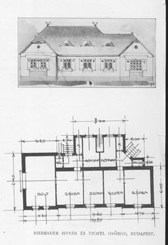 Magyar Építőművészet Family Homes, Home And Family, Vintage House Plans, Single Family, Villas, Floor Plans, Illustrations, How To Plan, Summer