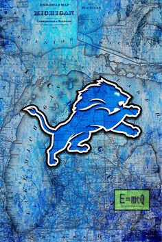 Detroit Lions Sports Poster, Detroit LIONS Artwork, Lions in front of                       – McQDesign
