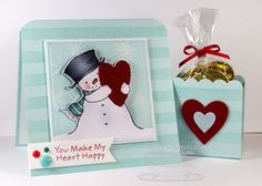 """""""You Make My Heart Happy"""" ⛄️Snowman Card. ❤️love this sentiment stamp! Cindy Lawrence"""