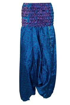Womens Harem Pants Blue Printed Hippy Yoga Jumpsuit Apparel