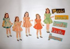 """The five girls: Annette, Marie, Emilie, Cecile, Yvonne. These dolls are all about 8 1/2"""" in height. Each girl has at least 40 pieces of clothing and accessories. The furniture pieces are made of extra thick cardboard. 