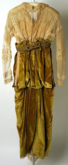 Afternoon dress. Lucile. Date: 1913. Culture: British. Mediums: silk, metal. Back view. MMA Collections.