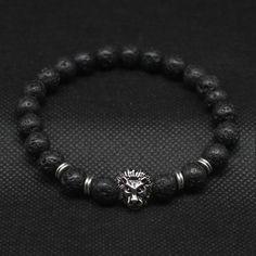 Lion Head Lava Stone Bracelets