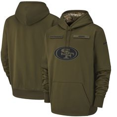 2a537cd8a Men s Nike Olive San Francisco 49ers Salute to Service Sideline Therma  Performance Pullover Hoodie