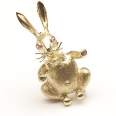 Rabbit Pin with Bow-tie and Ruby Eyes, c. 1970 I have this and he has a diamond in his bellybutton! So cute for Easter!