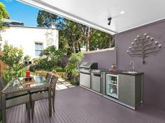 Entertain all year round with this outdoor kitchen and BBQ area in Sydney. Bbq Area, The Great Outdoors, Barbecue, Sydney, Real Estate, Outdoor Decor, Kitchen, House, Inspiration