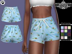 Enjoy these little avocado pj shorts! Found in TSR Category 'Sims 4 Female Sleepwear' Baby Shorts, Pj Shorts, Print Shorts, Sims 4 Cc Kids Clothing, Sims 4 Mods Clothes, Sims 4 Tsr, Sims Cc, Vêtement Harris Tweed, Sims 4 Dresses
